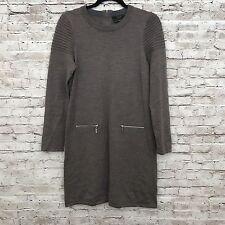 TAHARI 100% Extrafine Merino Wool Taupe L/S Zipper Sweater Dress Size Large