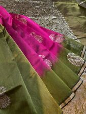 Jute silk saree in Ruby Pink with green