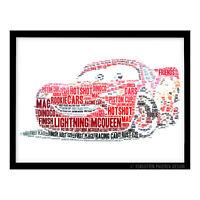 FP1045 Unusual Disney Pixar Gifts – Cars Lightning McQueen A4 Print Word Art
