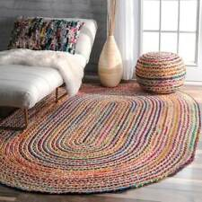 100 Jute With Cotton Oval American Braided Style Rug. Reversible Rustic LOOK 150x215cm