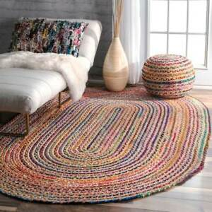 Cotton Jute Oval 3 Great sizes Scandi style Braided rug Reversible rustic look