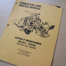 Leeboy Model 1200s Maintainer Owner Operator Operation Maintenance Manual Book