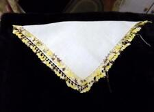 Vintage Ladies Handkerchief Wedding Day White w/Yellow & Brown Crochet Edge Trim