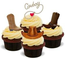 COWBOY MIX 12 STAND UP Edible Cake Toppers Premium Stand Ups Boots Hat Wild West