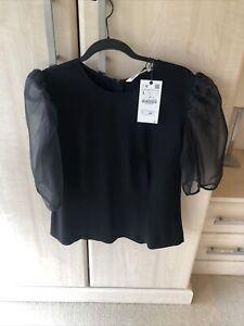 Zara Black Sheer Sleeve Top New Tags L