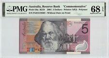 Australia 2001 P-56a PMG Superb Gem UNC 68 EPQ 5 Dollars *Commemorative*