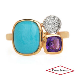 Estate Turquoise Amethyst Topaz 10K Gold Three-Stone Ring NR