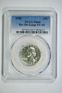 1956 PCGS PR66 Rev Die Gouge FS-701 Washington Quarter - Price Guide $300