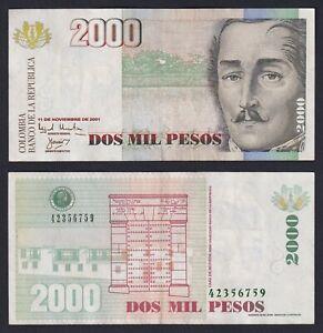 Colombia 2000 pesos 2001 BB+/VF+  B-10