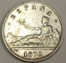 1870 Spain 5 Pesetas silver coin VF25