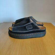 Dr Martens Vintage Slip On Platform Chunky Blue Suede Sandals Mules Size UK 7