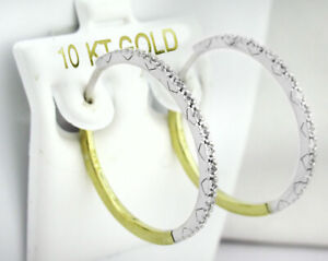 WHITE SAPPHIRES HOOP EARRINGS 10K GOLD TWO TONES ** New With Tag **