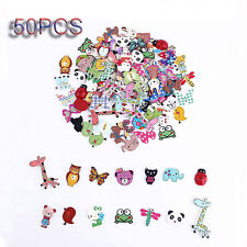 50PCS DIY Fashion Mixed Animal 2 Holes Wooden Buttons Sewing Craft Scrapbooking