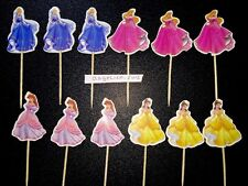 12 X Disney Princess Cake Picks/Toppers Kids Party Cupcake Decorations Birthday