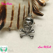 - Silver Plated - Fun Gift! Pearl Cage Pendant - Pirate Skull Crossbones