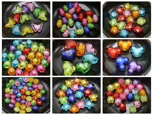 """Mixed Color Acrylic Faceted  Charm Beads  """"Bead in Bead"""" Pick Your Shape"""