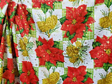 Gold Bling Christmas Fabric Twill Weave Apparel Home Dec Poinsettia   BFab