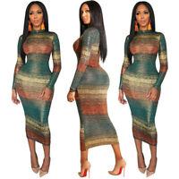 Fashion Women Gradient Print Bodycon Slim Dress Long Sleeve Casual Party Dresses