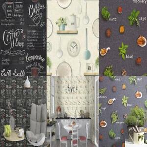 Rasch Kitchen Inspired Wallpaper Herbs & Spices Coffee Shop Utensils/Clock