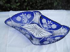 "VINTAGE CZECH BOHEMIA COBALT BLUE FLOWER CUT CRYSTAL DIAMOND PLATE 17"" NIB"