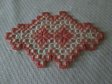 Hardanger  Doily Norwegian Embroidery  Hand Made  Coral