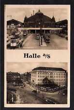 103877 AK Halle Saale Riebeckplatz Hauptbahnhof Fotokarte Straßenbahn um 1935