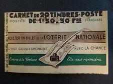 France #517-C2 Carnet Type PETAIN 20 Timbres avec PUBLICITE SECOURS NATIONAL