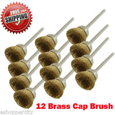 "12 Rotary Brass Cap Wire Brush  Arbor for Dremel Craftsman Tool 1/8"" 442  Polish"