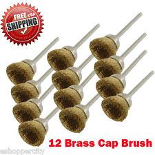 "12 Rotary Brass Cap Wire Brush  Arbor for Dremel Fordom Tool 1/8"" Shank Polish"