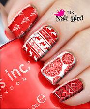 Nail Art Nail Decals Nail Transfers Wraps Natural/Acrylic - RED XMAS MIXED SET