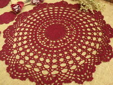 "Vintage HAND Crochet Lace Doily Rounds Center Piece Scalloped MAUVE- Wedding 16"""