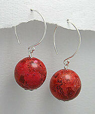 "5.4g Solid Sterling Silver 1.3"" Dangling Natural RED 14mm Coral BALL Earrings"