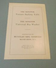 1926 Huntley MFG Monitor Tomato Packing Table and Universal Pea Washer Catalog