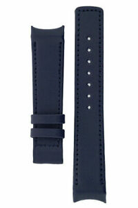 Hirsch HEAVY CALF Curve End LEATHER Watch Strap FOR OMEGA DEPLOYMENT BLUE 22mm