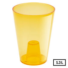 Plastic Transparent Orange High Quality Home Office Desk Flower Pot 16.5cm Tall