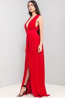ASOS Drape V Neck Maxi Dress in Red Sizes 6 to 16