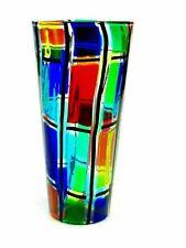 V LARGE Signed Murano Ballarin Multi Coloured Pezzato Mazzega Studio Vase