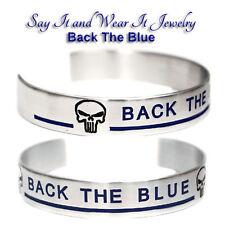 Back The Blue Bracelet with Punisher Skull and Thin Blue Line Bracelet