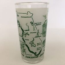Federal Frosted Florida Map Drinking Glass State Souvenir Tumbler Vintage