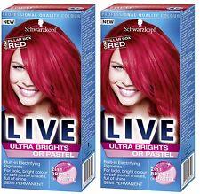 2 X Schwarzkopf Live Semi Permanent Color XXL Ultra Brights 92 Pillar Box Red