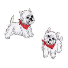 VAT Sewing Iron Sew on Motif Craft Factory Patch 2 X Westies Dogs
