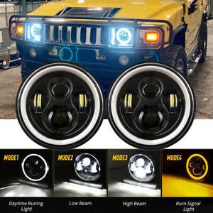 "DOT 7"" inch Round LED Headlights Pair Hi Lo Beam Angel Eye For Hummer H1 H2 JEEP"