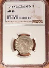 1942 New Zealand 1 Shilling, NGC graded AU58, SILVER, WWII Era