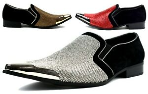 Mens Studded Diamante Formal Shoes-Gold & Red-Wedding and Party Wear Sizes 6-12