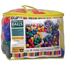 New Jolly Kidz Plastic Play Balls Fun 105 Pack Playpen Ballpit Storage Bag