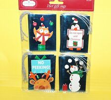 Christmas Holiday Gift Tags 16 Count Penguin Owl Reindeer Snowman Blue Foil M1