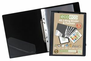 eco-eco A5 65% Recycled Strong Presentation Ring Binder + 12 Clear Pockets