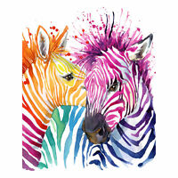 Rainbow Zebra Painting Large Wall Art Print Canvas Premium Poster