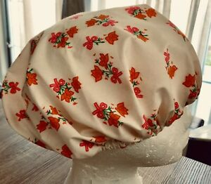 BOUFFANT  Style SURGICAL SCRUB  HAT.   Colorful. Orange floral print