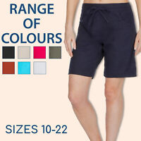 Ladies Linen Blend Shorts Pockets Summer Holiday Beach Drawstring Casual 10-22
